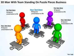3D Men With Team Standing On Puzzle Pieces Business Ppt Graphic Icon