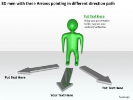 3D men with three Arrows pointing in different direction path Ppt Graphic Icon