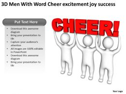 3D Men With Word Cheer excitement joy success Ppt Graphic Icon