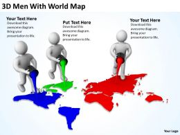 3D Men With World Map Ppt Graphics Icons Powerpoint