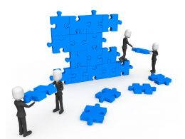 3d Men Working As Team Connecting Blue Puzzles Completing Wall Task Stock Photo