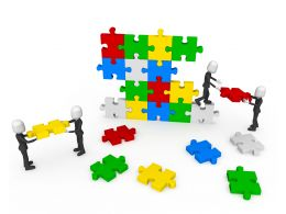 3d Men Working As Team Connecting Multicolored Puzzles Stock Photo