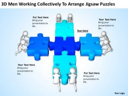 3D Men Working Collectively To Arrange Jigsaw Puzzles Ppt Graphics Icons Powerpoint