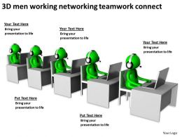 3D men working networking teamwork connect Ppt Graphic Icon