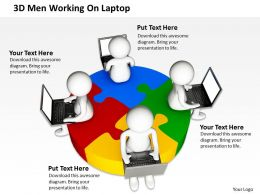 3D Men Working On Laptop Global Business Ppt Graphics Icons