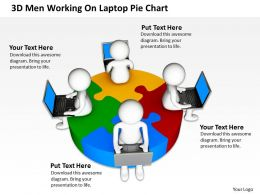 3D Men Working On Laptop Pie Chart Business Ppt Graphics Icons