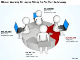 3D men Working On Laptop Sitting On Pie Chart technology Ppt Graphic Icon