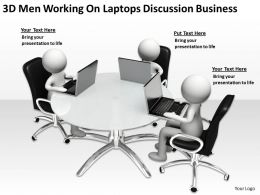 3D Men Working On Laptops Discussion Business Ppt Graphics Icons