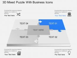 3d Mixed Puzzle With Business Icons Powerpoint Template Slide