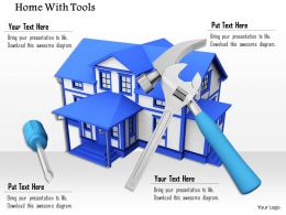 3D Model Of Blue House With Service Tools