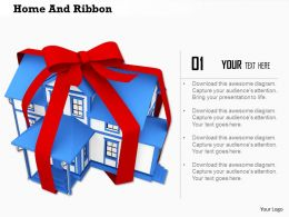 3D Model Of House In Red Ribbon Gift Of Real Estate