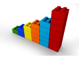 3D Multicolored Bar Graph Made By Lego Blocks Stock Photo