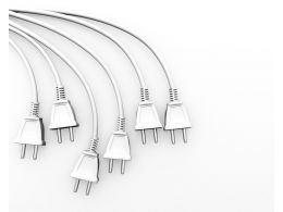 3d Multiple White Electronic Plugs Stock Photo