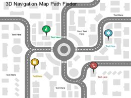 3d Navigation Map Path Finder Flat Powerpoint Design