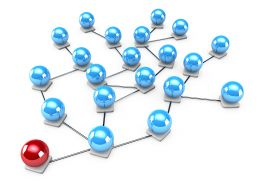 3D Network Graphic With Blue Balls And One Red Ball Stock Photo