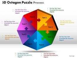 3D Octagon Puzzle Process Powerpoint Slides