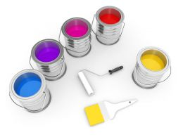 3D Paint Color Boxes Stock Photo