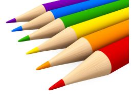 3D Pencils In Six Colors Stock Photo