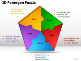 3D Pentagon Puzzle Process Powerpoint Slides