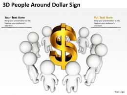 3D People Around Dollar Sign Ppt Graphics Icons