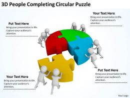 3D People Completing Circular Puzzle Ppt Graphics Icons Powerpoint