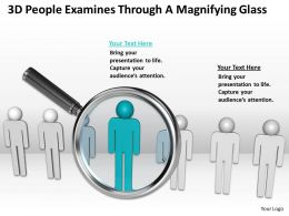 3d People Examines Through A Magnifying Glass Ppt Graphics Icons