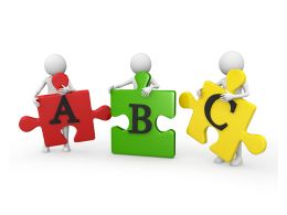 3D People Holding Abc Puzzle Pieces Stock Photo