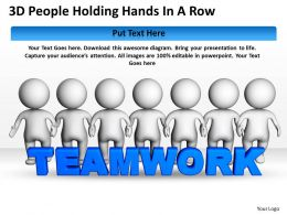 3D People Holding Hands In A Row Ppt Graphics Icons