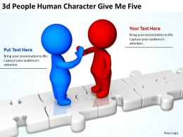 3D People Human Character Give Me Five Ppt Graphics Icons