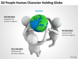 3D People Human Character Holding Globe Ppt Graphics Icons