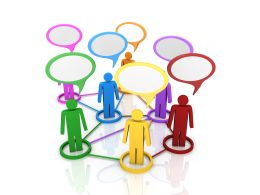 3d People In A Group Discussion Speaking Stock Photo