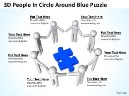 3D People In Circle Around Blue Puzzle Ppt Graphics Icons