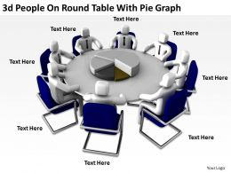3D People On Round Table With Pie Graph Ppt Graphics Icons