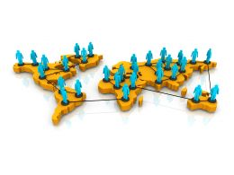 3d People On World Map For Global Network Stock Photo