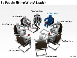 3D People Sitting With A Leader Ppt Graphics Icons
