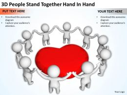 3D People Stand Together Hand In Hand Ppt Graphics Icons Powerpoint