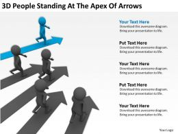 3D People Standing At The Apex Of Arrows Ppt Graphics Icons Powerpoint