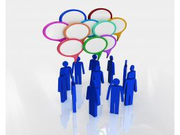 3d People Standing In Group With Speech Bubbles Stock Photo