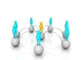 3D People Standing Over Balls With One Man In Center To Show Network Leadership Stock Photo