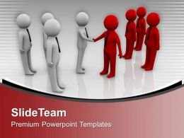 3d People Two Teams Shaking Hands Powerpoint Templates Ppt Themes And Graphics 0213
