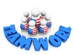 3D People With Flag Design Tshirts And Teamwork Stock Photo