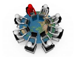 3d People With Globe And Sitting On Chairs Shows Global Meeting Stock Photo