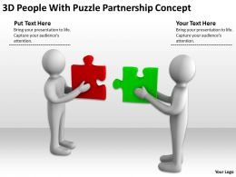 3D People With Puzzle Partnership Concept Ppt Graphics Icons Powerpoint