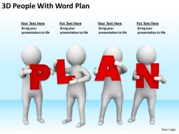 3D People With Word Plan Ppt Graphics Icons Powerpoint