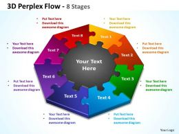 3d perplex flow 8 stages powerpoint templates graphics slides 0712