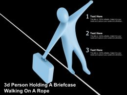 3d Person Holding A Briefcase Walking On A Rope