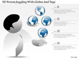3D Person Juggling With Globes And Tags Ppt Presentation Slides