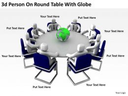 3D Person On Round Table With Globe Ppt Graphics Icons