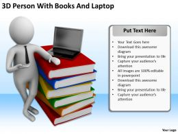 3D Person With Books And Laptop Ppt Graphics Icons PowerPoint