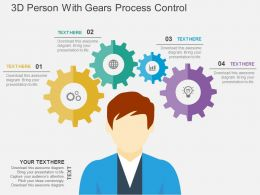 3D Person With Gears Process Control Flat Powerpoint Design